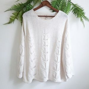 J. Jill Cream Leaf Design Scalloped Knit Sweater